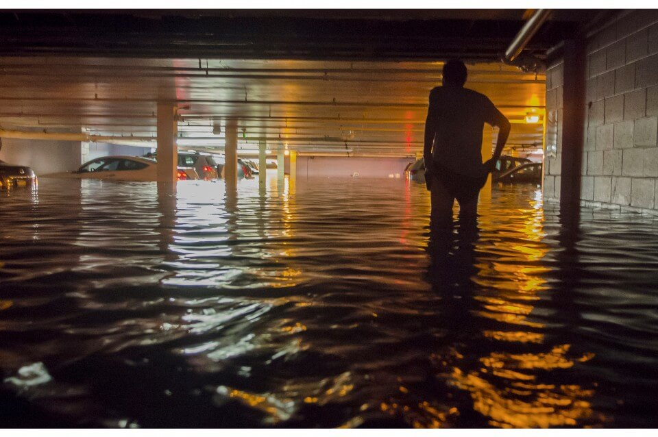 A Flooded Hotel Parking Garage During a Summer Rain Storm