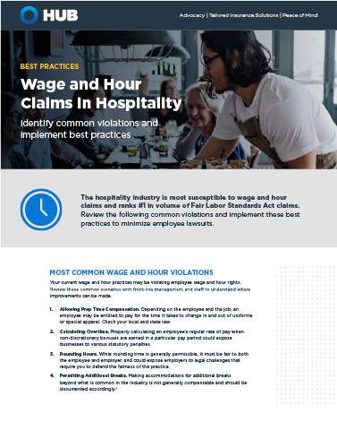 Wage And Hour Claims In Hospitality