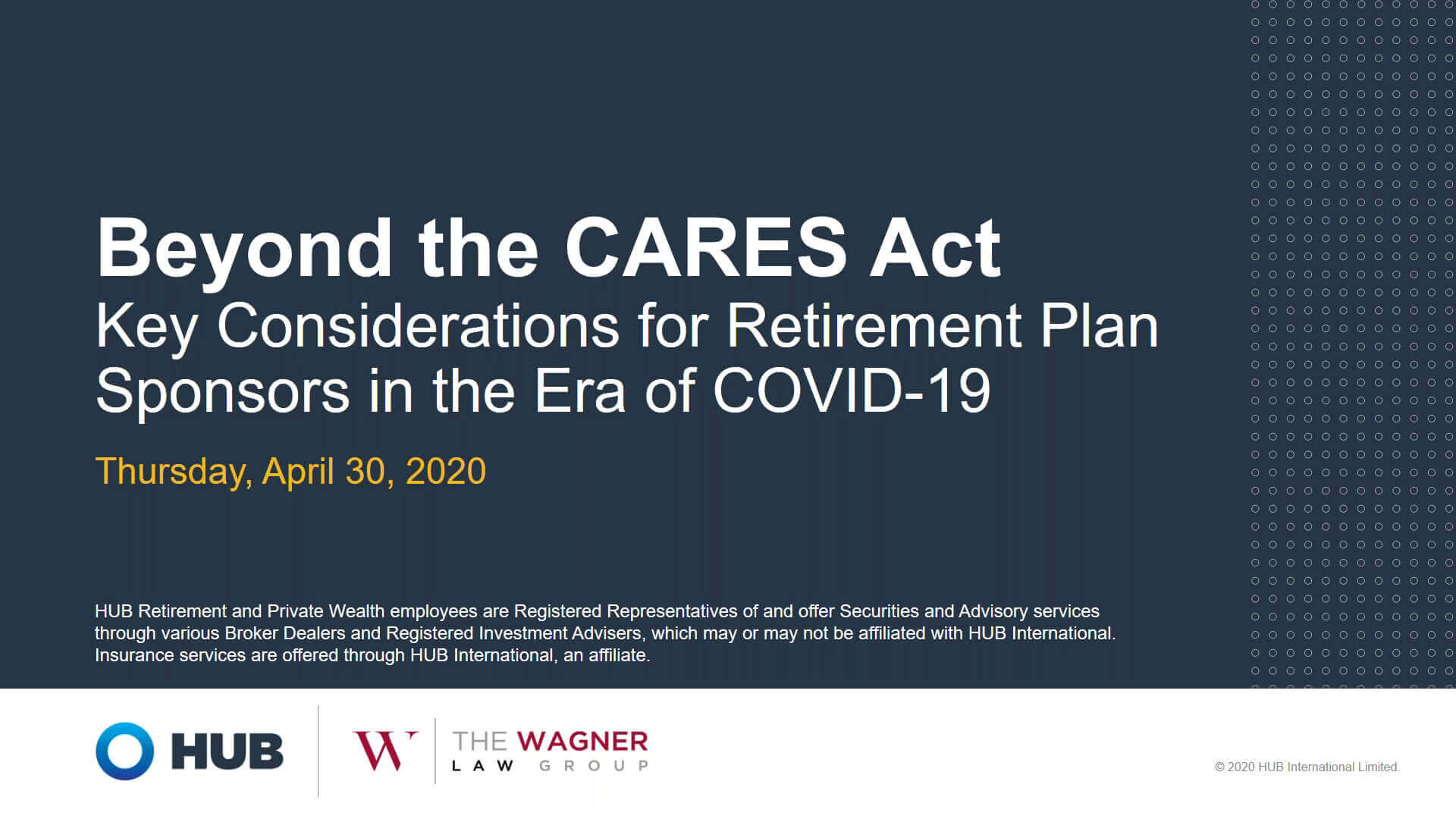 Beyond The CARES Act Webinar